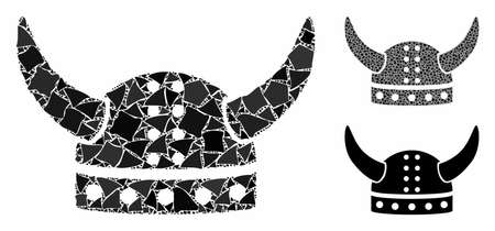 Horned helmet composition of tuberous parts in variable sizes and color tinges, based on horned helmet icon. Vector tuberous parts are organized into collage.