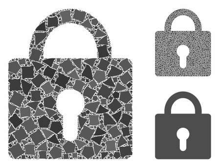 Lock composition of inequal items in various sizes and color tones, based on lock icon. Vector bumpy pieces are grouped into collage. Lock icons collage with dotted pattern.