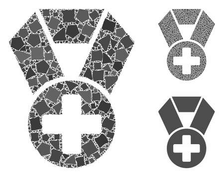Medical cross medal mosaic of abrupt items in various sizes and shades, based on medical cross medal icon. Vector ragged items are organized into mosaic.