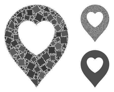 Love heart marker composition of rugged parts in various sizes and color tinges, based on love heart marker icon. Vector humpy parts are composed into composition.