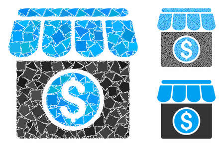 Market mosaic of inequal parts in different sizes and color tinges, based on market icon. Vector humpy dots are united into collage. Market icons collage with dotted pattern.
