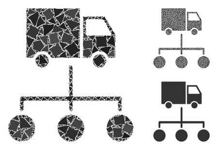 Lorry distribution scheme mosaic of abrupt items in different sizes and color tints, based on lorry distribution scheme icon. Vector irregular items are combined into collage. Illustration