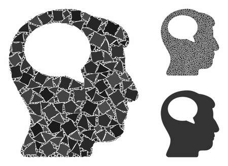 Person thinking mosaic of bumpy elements in variable sizes and shades, based on person thinking icon. Vector bumpy parts are organized into mosaic. Person thinking icons collage with dotted pattern.