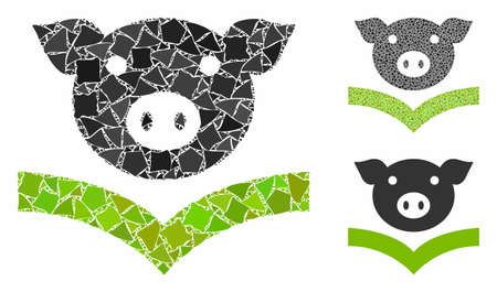 Pig knowledge mosaic of abrupt elements in variable sizes and shades, based on pig knowledge icon. Vector bumpy elements are united into mosaic. Pig knowledge icons collage with dotted pattern.