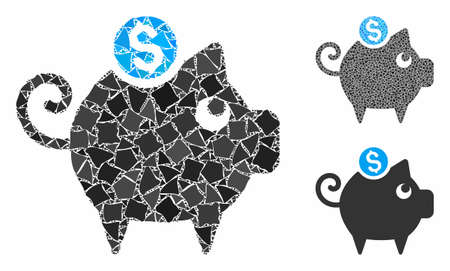 Piggy bank mosaic of tremulant items in variable sizes and color tinges, based on piggy bank icon. Vector rough items are composed into mosaic. Piggy bank icons collage with dotted pattern.