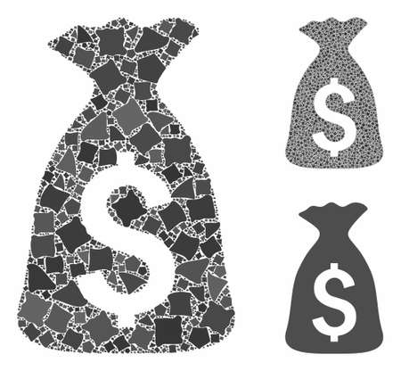 Money bag composition of uneven items in various sizes and color tinges, based on money bag icon. Vector uneven parts are grouped into composition. Money bag icons collage with dotted pattern. Ilustracja
