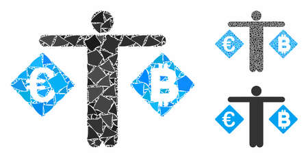 Person compare Euro and Bitcoin mosaic of abrupt elements in different sizes and color tinges, based on person compare Euro and Bitcoin icon. Vector tuberous elements are grouped into mosaic.