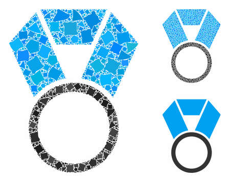 Place medal template mosaic of trembly items in variable sizes and shades, based on place medal template icon. Vector tuberous items are united into collage.