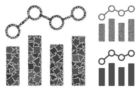 Point chart mosaic of raggy pieces in different sizes and shades, based on point chart icon. Vector raggy pieces are combined into illustration. Point chart icons collage with dotted pattern.