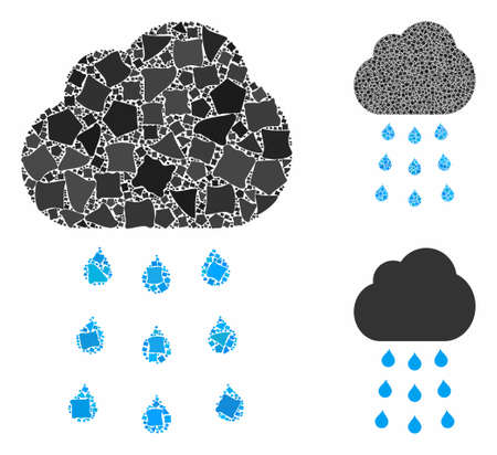 Rain cloud composition of raggy items in different sizes and shades, based on rain cloud icon. Vector trembly items are organized into composition. Rain cloud icons collage with dotted pattern. Standard-Bild - 133699748