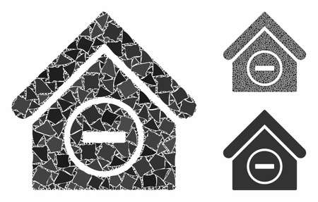 Remove building mosaic of abrupt parts in various sizes and color tinges, based on remove building icon. Vector ragged parts are grouped into composition.
