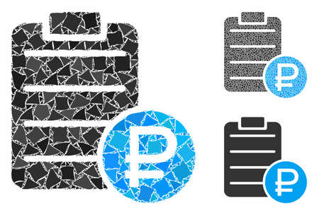 Ruble price list mosaic of unequal parts in various sizes and shades, based on ruble price list icon. Vector humpy parts are organized into illustration.