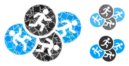 Running men mosaic of uneven pieces in various sizes and shades, based on running men icon. Vector ragged pieces are united into collage. Running men icons collage with dotted pattern.