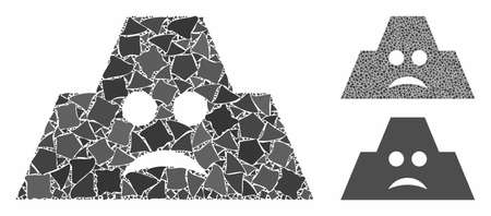 Sad fortification mosaic of ragged pieces in various sizes and color tones, based on sad fortification icon. Vector irregular items are grouped into mosaic.