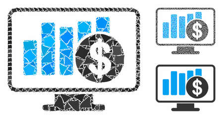 Sales monitor mosaic of tremulant pieces in variable sizes and color tints, based on sales monitor icon. Vector tremulant elements are united into mosaic.
