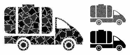 Tank truck mosaic of rugged items in various sizes and color tinges, based on tank truck icon. Vector rugged elements are combined into mosaic. Tank truck icons collage with dotted pattern. Illustration