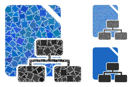 Site map composition of raggy parts in different sizes and color tints, based on site map icon. Vector raggy parts are organized into composition. Site map icons collage with dotted pattern.