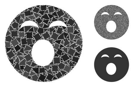 Sleepy smiley mosaic of rough elements in variable sizes and color tones, based on sleepy smiley icon. Vector ragged elements are combined into collage.