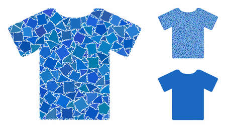 T-shirt mosaic of trembly elements in variable sizes and color tones, based on T-shirt icon. Vector trembly elements are combined into collage. T-shirt icons collage with dotted pattern. Vetores