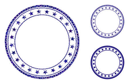 Starred round frame mosaic of unequal items in different sizes and color hues, based on starred round frame icon. Vector unequal pieces are combined into mosaic.