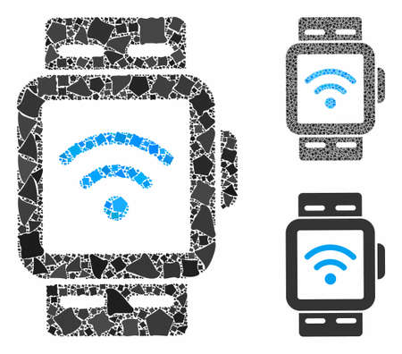 WiFi smart watches mosaic of unequal elements in various sizes and color tints, based on WiFi smart watches icon. Vector tuberous pieces are grouped into collage.