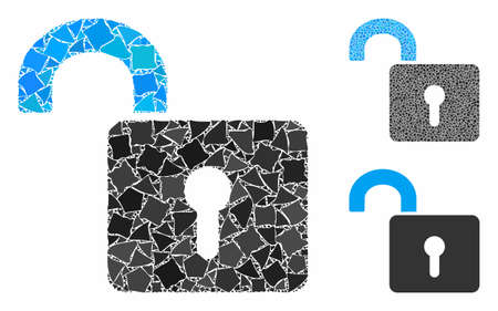 Unlock mosaic of bumpy pieces in different sizes and shades, based on unlock icon. Vector uneven elements are grouped into collage. Unlock icons collage with dotted pattern. 写真素材 - 133699826