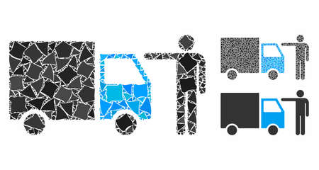 Truck customer mosaic of unequal pieces in different sizes and color hues, based on truck customer icon. Vector trembly pieces are composed into collage. Illustration