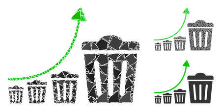Trash growing trend composition of abrupt elements in various sizes and color tones, based on trash growing trend icon. Vector tuberous parts are organized into collage. Stock fotó - 133699849