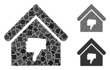 Thumb down building composition of tuberous elements in variable sizes and shades, based on thumb down building icon. Vector tuberous elements are composed into mosaic. Illusztráció