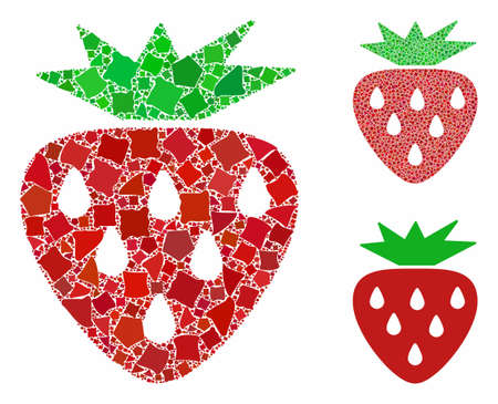 Strawberry composition of ragged pieces in various sizes and shades, based on strawberry icon. Vector abrupt pieces are composed into composition. Strawberry icons collage with dotted pattern.