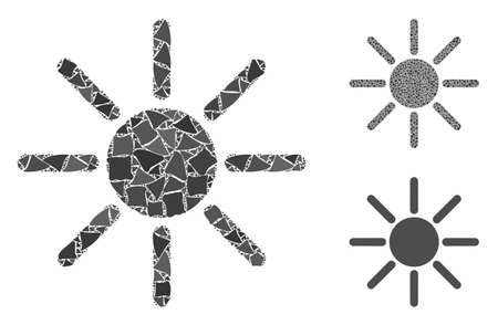 Sun mosaic of rough items in various sizes and color hues, based on sun icon. Vector unequal items are composed into collage. Sun icons collage with dotted pattern.