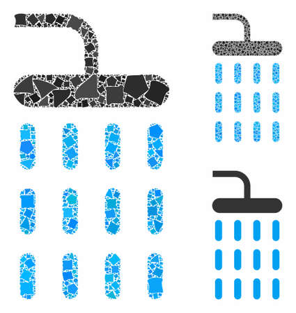Shower composition of unequal elements in various sizes and shades, based on shower icon. Vector trembly elements are grouped into composition. Shower icons collage with dotted pattern.  イラスト・ベクター素材