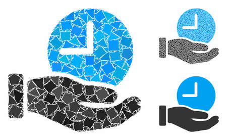 Time service hand composition of bumpy pieces in different sizes and color tints, based on time service hand icon. Vector rugged elements are grouped into collage.
