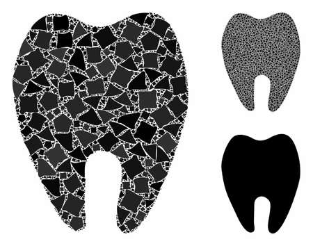 Tooth composition of abrupt parts in variable sizes and shades, based on tooth icon. Vector bumpy parts are united into collage. Tooth icons collage with dotted pattern.