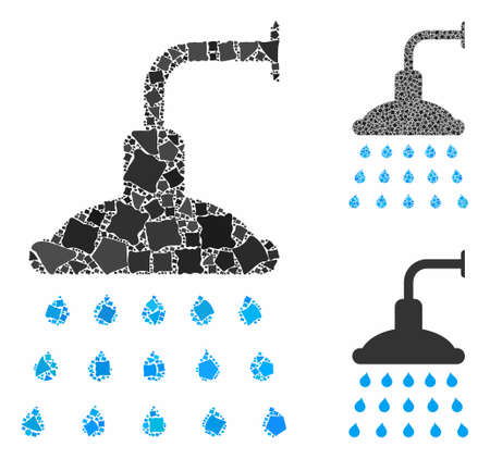 Shower composition of tremulant pieces in variable sizes and color tints, based on shower icon. Vector tremulant pieces are organized into illustration. Shower icons collage with dotted pattern. 일러스트