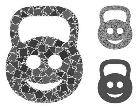 Smiled ton weight mosaic of humpy parts in various sizes and color hues, based on smiled ton weight icon. Vector inequal parts are organized into mosaic.
