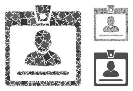 Access badge composition of humpy parts in various sizes and color tints, based on access badge icon. Vector tuberous parts are grouped into collage. Access badge icons collage with dotted pattern. Иллюстрация