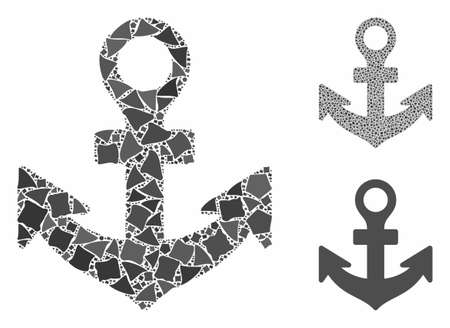 Anchor composition of tuberous pieces in various sizes and color hues, based on anchor icon. Vector rough pieces are combined into illustration. Anchor icons collage with dotted pattern.  イラスト・ベクター素材