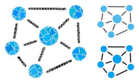 Composición del gráfico social de piezas desiguales en varios tamaños y tonos de color, según el icono del gráfico social. Los elementos desiguales vectoriales se unen en una composición. Ilustración de vector