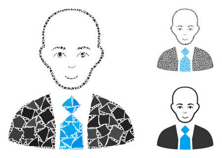 Bald boss composition of bumpy elements in various sizes and color tinges, based on bald boss icon. Vector bumpy items are organized into collage. Bald boss icons collage with dotted pattern.