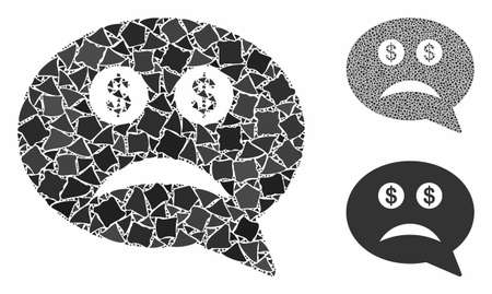 Bankrupt mosaic of uneven elements in various sizes and shades, based on bankrupt icon. Vector abrupt elements are united into mosaic. Bankrupt icons collage with dotted pattern. Ilustrace