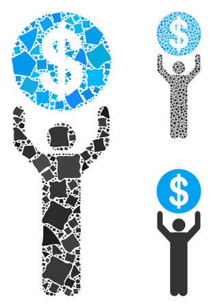 Banker composition of uneven elements in variable sizes and color tinges, based on banker icon. Vector uneven elements are organized into composition. Banker icons collage with dotted pattern. Ilustração