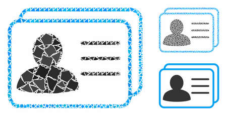 Account cards composition of humpy pieces in different sizes and shades, based on account cards icon. Vector inequal pieces are combined into collage. Account cards icons collage with dotted pattern.