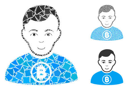 Bitcoin man mosaic of humpy parts in variable sizes and color tinges, based on Bitcoin man icon. Vector rough parts are organized into mosaic. Bitcoin man icons collage with dotted pattern.