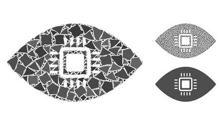 Artificial vision composition of trembly parts in variable sizes and color hues, based on artificial vision icon. Vector tremulant parts are grouped into collage.