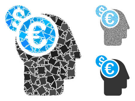 Banker mosaic of bumpy items in different sizes and color hues, based on banker icon. Vector bumpy dots are combined into mosaic. Banker icons collage with dotted pattern. Ilustração