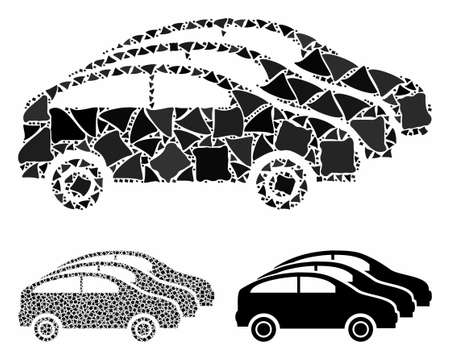 Car traffic mosaic of tremulant pieces in different sizes and color hues, based on car traffic icon. Vector rough pieces are grouped into mosaic. Car traffic icons collage with dotted pattern.