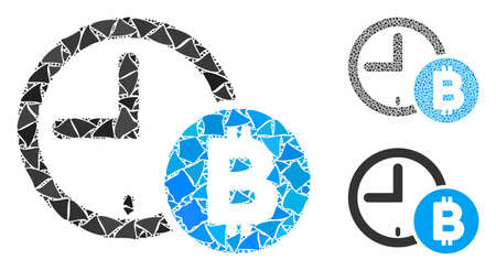 Bitcoin credit clock composition of tuberous parts in different sizes and color tints, based on Bitcoin credit clock icon. Vector raggy parts are composed into composition.