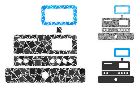 Cash register mosaic of unequal pieces in different sizes and shades, based on cash register icon. Vector joggly pieces are composed into collage. Cash register icons collage with dotted pattern.