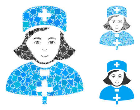 Church female doctor mosaic of abrupt parts in different sizes and color hues, based on church female doctor icon. Vector rugged parts are combined into mosaic.
